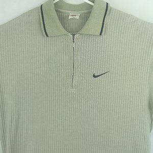 NIKE 1/4 Zip Polo Vintage Shirt Top Tan Large  Siz